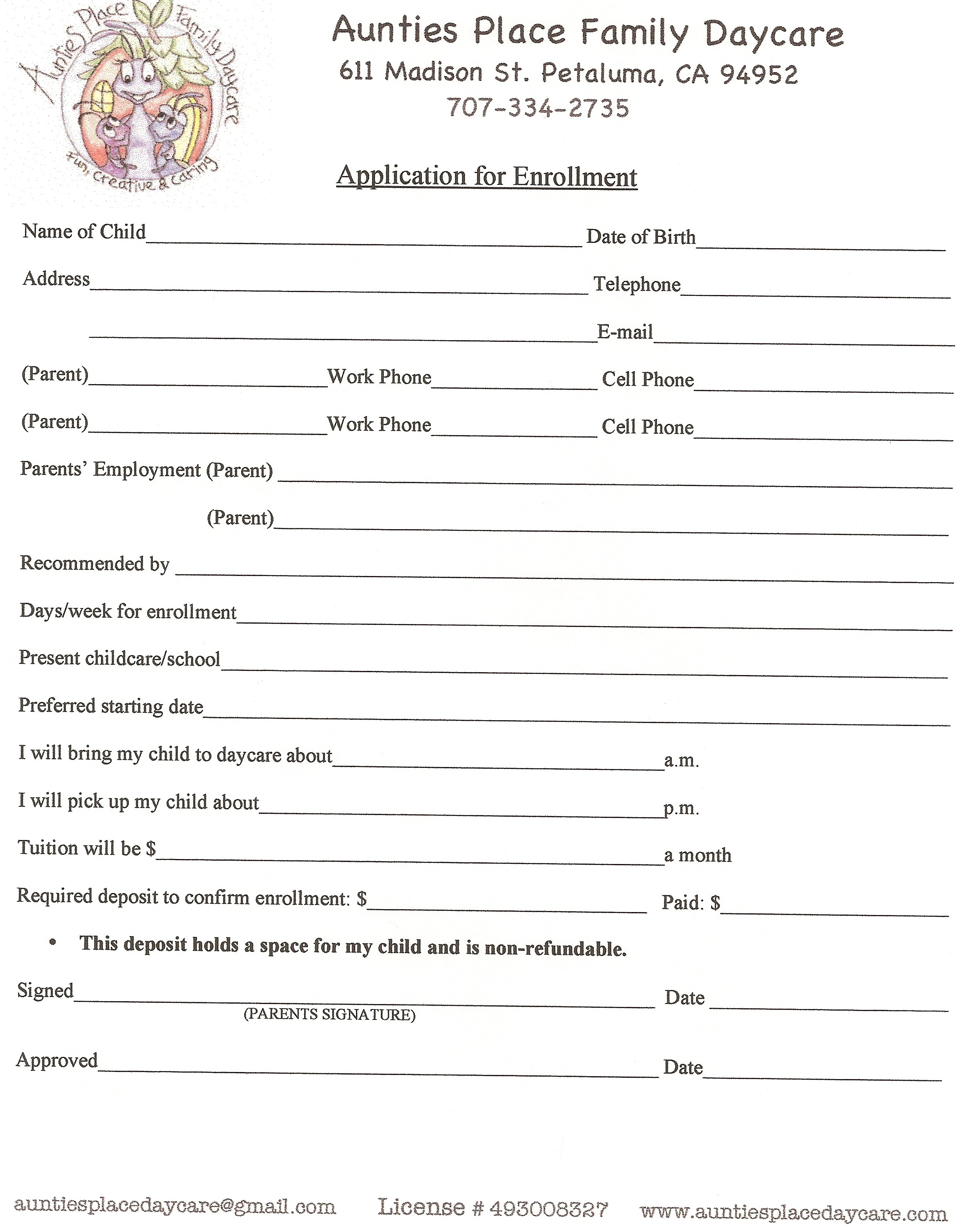 our forms for a safe day care